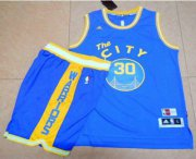 Wholesale Cheap Warriors #30 Stephen Curry Blue Throwback The City A Set Stitched NBA Jersey