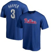 Wholesale Cheap Philadelphia Phillies #3 Bryce Harper Majestic Official Name & Number T-Shirt Royal