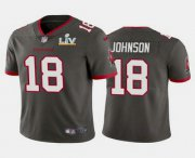 Wholesale Cheap Men's Tampa Bay Buccaneers #18 Tyler Johnson Grey 2021 Super Bowl LV Limited Stitched NFL Jersey