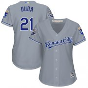 Wholesale Cheap Royals #21 Lucas Duda Grey Road Women's Stitched MLB Jersey