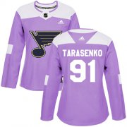 Wholesale Cheap Adidas Blues #91 Vladimir Tarasenko Purple Authentic Fights Cancer Women's Stitched NHL Jersey