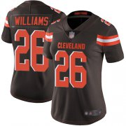 Wholesale Cheap Nike Browns #26 Greedy Williams Brown Team Color Women's Stitched NFL Vapor Untouchable Limited Jersey