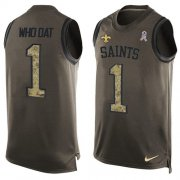 Wholesale Cheap Nike Saints #1 Who Dat Green Men's Stitched NFL Limited Salute To Service Tank Top Jersey