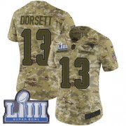 Wholesale Cheap Nike Patriots #13 Phillip Dorsett Camo Super Bowl LIII Bound Women's Stitched NFL Limited 2018 Salute to Service Jersey