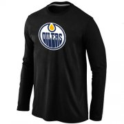 Wholesale Cheap NHL Edmonton Oilers Big & Tall Logo Long Sleeves T-Shirt Black