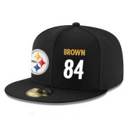 Wholesale Cheap Pittsburgh Steelers #84 Antonio Brown Snapback Cap NFL Player Black with White Number Stitched Hat