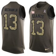 Wholesale Cheap Nike Giants #13 Odell Beckham Jr Green Men's Stitched NFL Limited Salute To Service Tank Top Jersey