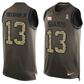 Wholesale Cheap Nike Giants #13 Odell Beckham Jr Green Men\'s Stitched NFL Limited Salute To Service Tank Top Jersey