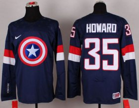Wholesale Cheap Olympic Team USA #35 Jimmy Howard Navy Blue Captain America Fashion Stitched NHL Jersey