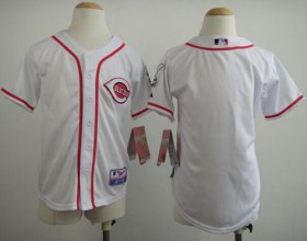 Wholesale Cheap Reds Blank White Cool Base Stitched Youth MLB Jersey