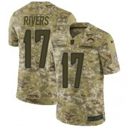 Wholesale Cheap Nike Chargers #17 Philip Rivers Camo Men's Stitched NFL Limited 2018 Salute To Service Jersey