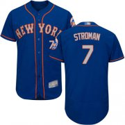 Wholesale Cheap Mets #7 Marcus Stroman Blue(Grey NO.) Flexbase Authentic Collection Stitched MLB Jersey