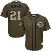 Wholesale Cheap Reds #21 Reggie Sanders Green Salute to Service Stitched Youth MLB Jersey
