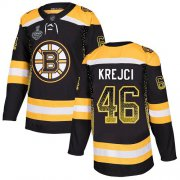 Wholesale Cheap Adidas Bruins #46 David Krejci Black Home Authentic Drift Fashion Stanley Cup Final Bound Stitched NHL Jersey