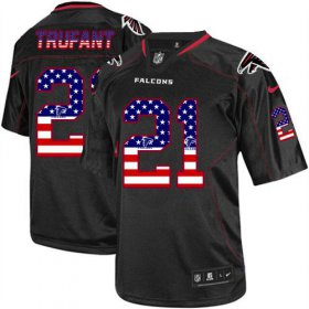 Wholesale Cheap Nike Falcons #21 Desmond Trufant Black Men\'s Stitched NFL Elite USA Flag Fashion Jersey