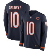 Wholesale Cheap Men's Bears #10 Mitchell Trubisky Navy Blue Team Color Men's Stitched NFL Limited Therma Long Sleeve Jersey
