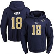 Wholesale Cheap Nike Rams #18 Cooper Kupp Navy Blue Name & Number Pullover NFL Hoodie