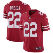 Wholesale Cheap Nike 49ers #22 Matt Breida Red Team Color Youth Stitched NFL Vapor Untouchable Limited Jersey