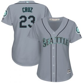 Wholesale Cheap Mariners #23 Nelson Cruz Grey Road Women\'s Stitched MLB Jersey