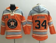 Wholesale Cheap Astros #34 Nolan Ryan Orange Sawyer Hooded Sweatshirt MLB Hoodie
