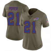 Wholesale Cheap Nike Bills #21 Jordan Poyer Olive Women's Stitched NFL Limited 2017 Salute to Service Jersey