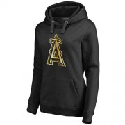 Wholesale Cheap Women's Los Angeles Angels of Anaheim Gold Collection Pullover Hoodie Black