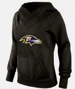 Wholesale Cheap Women's Baltimore Ravens Logo Pullover Hoodie Black-1