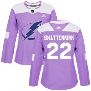 Cheap Adidas Lightning #22 Kevin Shattenkirk Purple Authentic Fights Cancer Women's Stitched NHL Jersey
