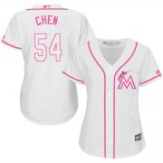 Wholesale Cheap Marlins #54 Wei-Yin Chen White/Pink Fashion Women's Stitched MLB Jersey