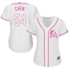 Wholesale Cheap Marlins #54 Wei-Yin Chen White/Pink Fashion Women\'s Stitched MLB Jersey