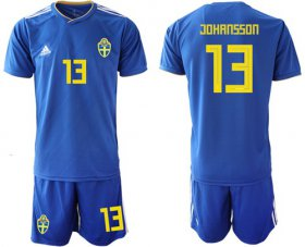 Wholesale Cheap Sweden #13 Johansson Away Soccer Country Jersey