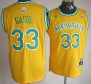 Wholesale Cheap Memphis Grizzlies #33 Marc Gasol ABA Hardwood Classic Swingman Yellow Jersey
