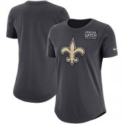Wholesale Cheap NFL Women's New Orleans Saints Nike Anthracite Crucial Catch Tri-Blend Performance T-Shirt