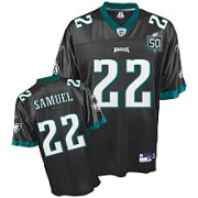 Wholesale Cheap Eagles Asante Samuel #22 Black Stitched Team 50TH Anniversary Patch NFL Jersey