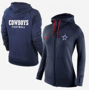 Wholesale Cheap Women's Nike Dallas Cowboys Full-Zip Performance Hoodie Dark Blue