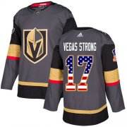 Wholesale Cheap Adidas Golden Knights #17 Vegas Strong Grey Home Authentic USA Flag Stitched Youth NHL Jersey