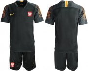 Wholesale Cheap Poland Blank Black Goalkeeper Soccer Country Jersey