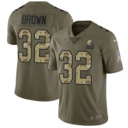Wholesale Cheap Nike Browns #32 Jim Brown Olive/Camo Youth Stitched NFL Limited 2017 Salute to Service Jersey