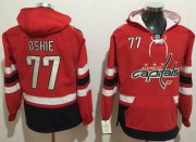 Wholesale Cheap Capitals #77 T.J Oshie Red Name & Number Pullover NHL Hoodie