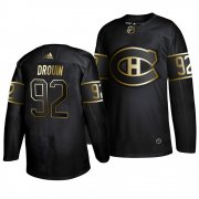 Wholesale Cheap Adidas Canadiens #92 Jonathan Drouin 2019 Black Golden Edition Authentic Stitched NHL Jersey
