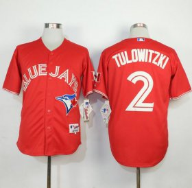 Wholesale Cheap Blue Jays #2 Troy Tulowitzki Red Canada Day Stitched MLB Jersey