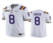Wholesale Cheap Men's LSU Tigers #8 Patrick Queen White 2020 National Championship Game Jersey