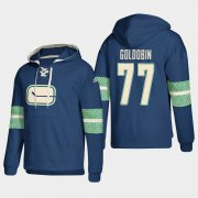 Wholesale Cheap Vancouver Canucks #77 Nikolay Goldobin Blue adidas Lace-Up Pullover Hoodie