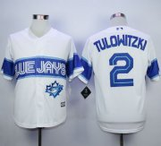 Wholesale Cheap Blue Jays #2 Troy Tulowitzki White Exclusive New Cool Base Stitched MLB Jersey