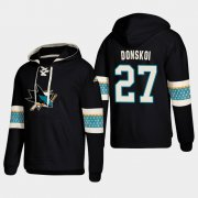 Wholesale Cheap San Jose Sharks #27 Joonas Donskoi Black adidas Lace-Up Pullover Hoodie