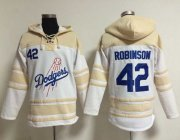 Wholesale Cheap Dodgers #42 Jackie Robinson White Sawyer Hooded Sweatshirt MLB Hoodie