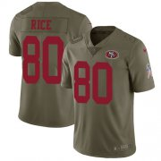 Wholesale Cheap Nike 49ers #80 Jerry Rice Olive Youth Stitched NFL Limited 2017 Salute to Service Jersey