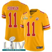 Wholesale Cheap Nike Chiefs #11 Demarcus Robinson Gold Super Bowl LIV 2020 Youth Stitched NFL Limited Inverted Legend Jersey