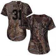 Wholesale Cheap Yankees #31 Aaron Hicks Camo Realtree Collection Cool Base Women's Stitched MLB Jersey