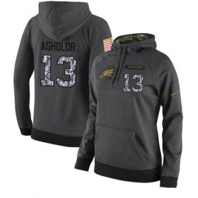 Wholesale Cheap NFL Women\'s Nike Philadelphia Eagles #13 Nelson Agholor Stitched Black Anthracite Salute to Service Player Performance Hoodie